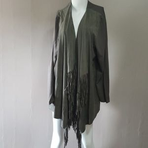 INC Woman Green Fringe Open Cardigan 2x